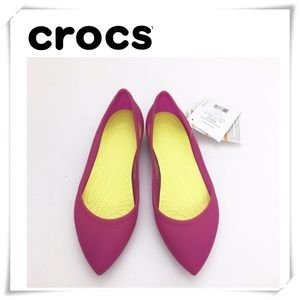 NWT Crocs Rio Ballet Pointed Flat Shoes Pink
